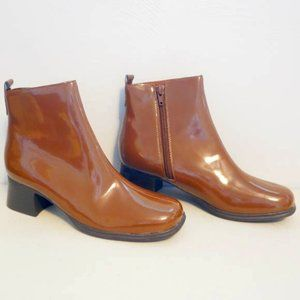 AJ Valenci Patent Leather Ankle Boots Brown Size 7